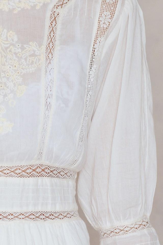Sukienka Mini Victorian Waisted Ivory