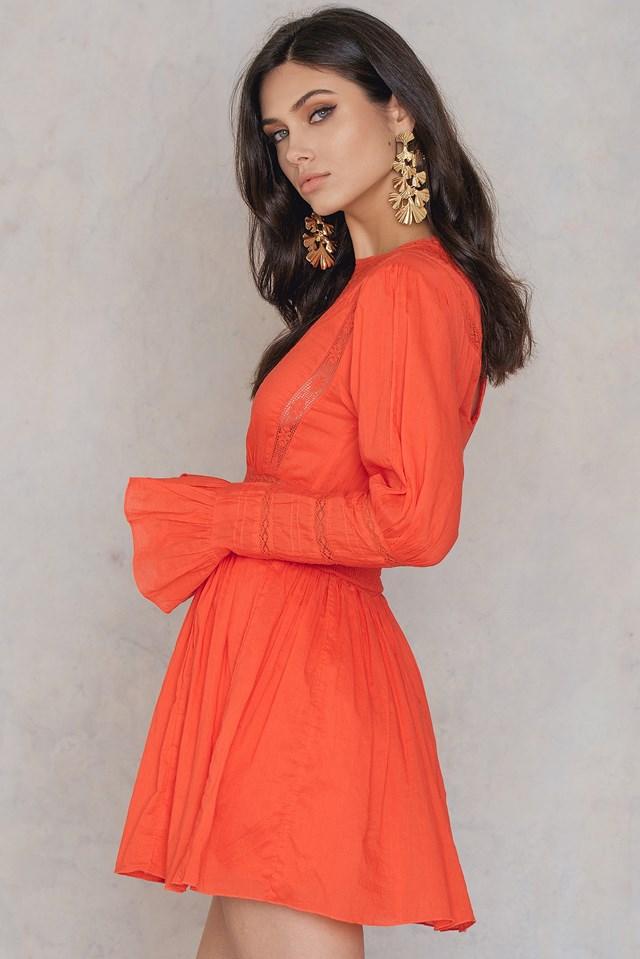 Victorian Waisted Mini Dress Orange