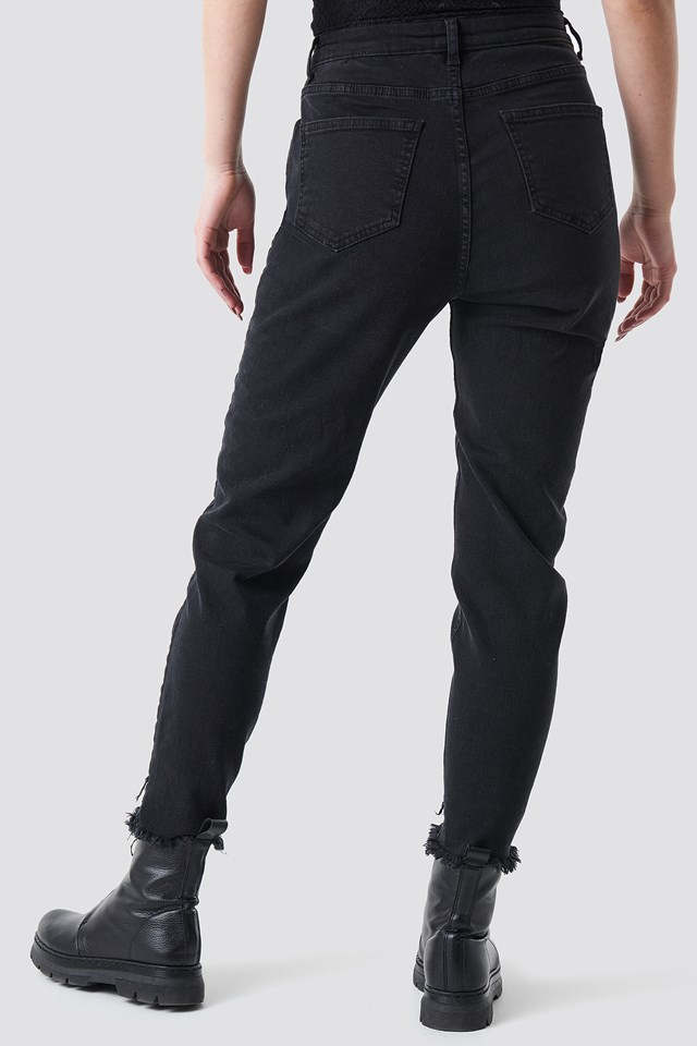 Front Button Raw Hem Jeans Washed Black
