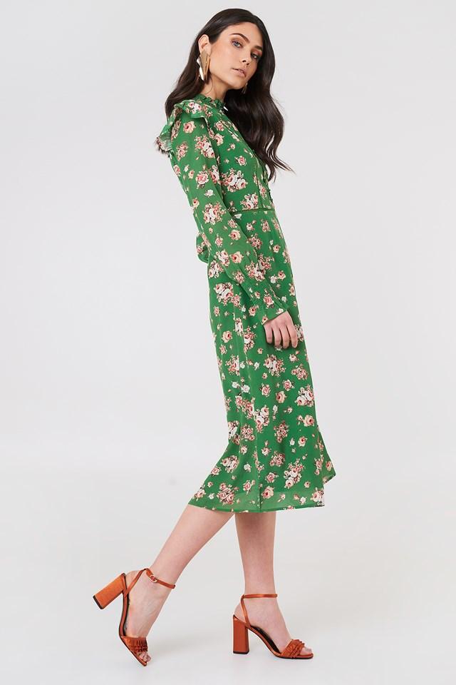 Sukienka Bodil Green Roses All Over