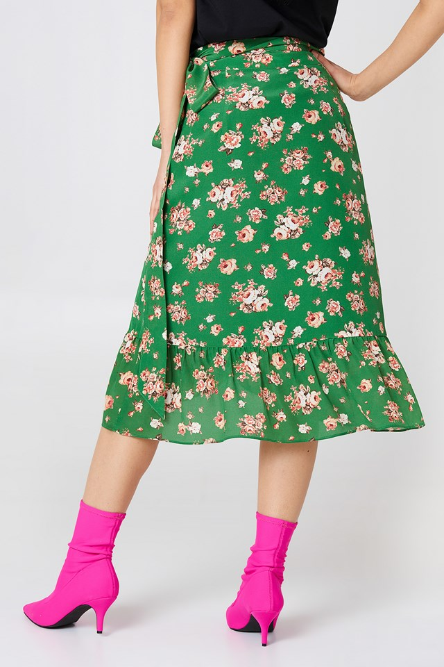 High Pressure Skirt Green Roses All Over