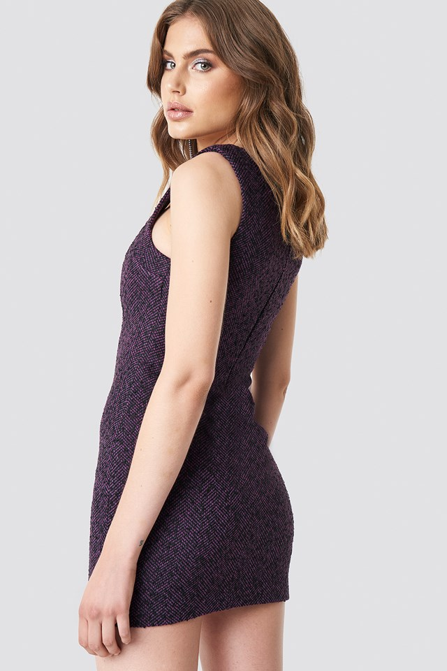 Boucle Short Dress Purple