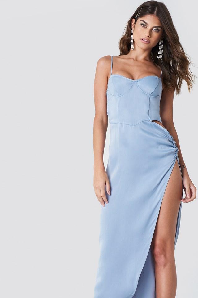 Cut Out Long Slit Dress Foggy
