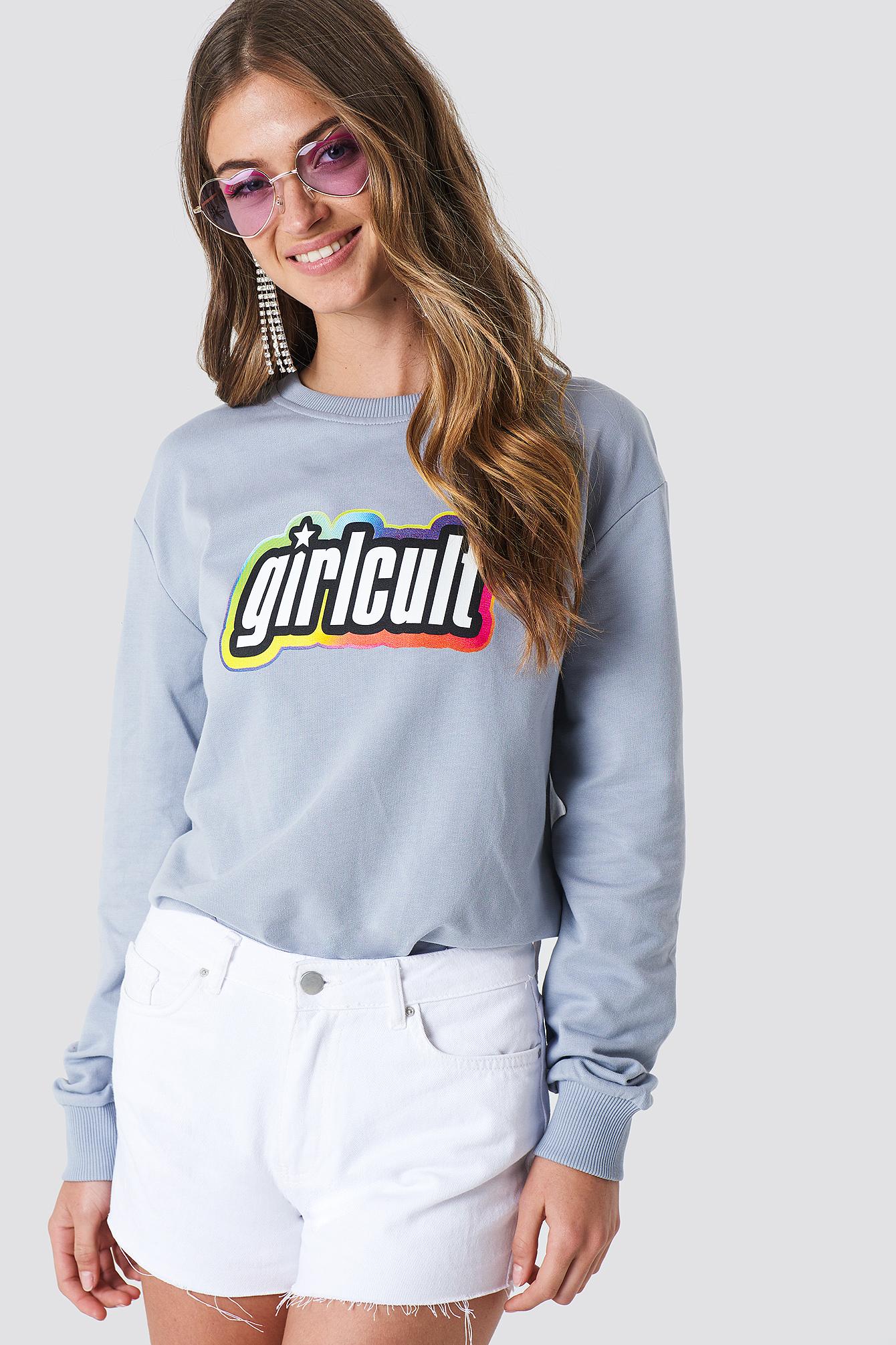 GALORE X NA-KD Girl Cult Sweatshirt - Grey