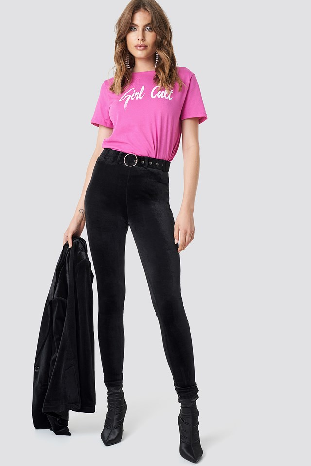 High Waist Belted Velvet Pants NA-KD.COM