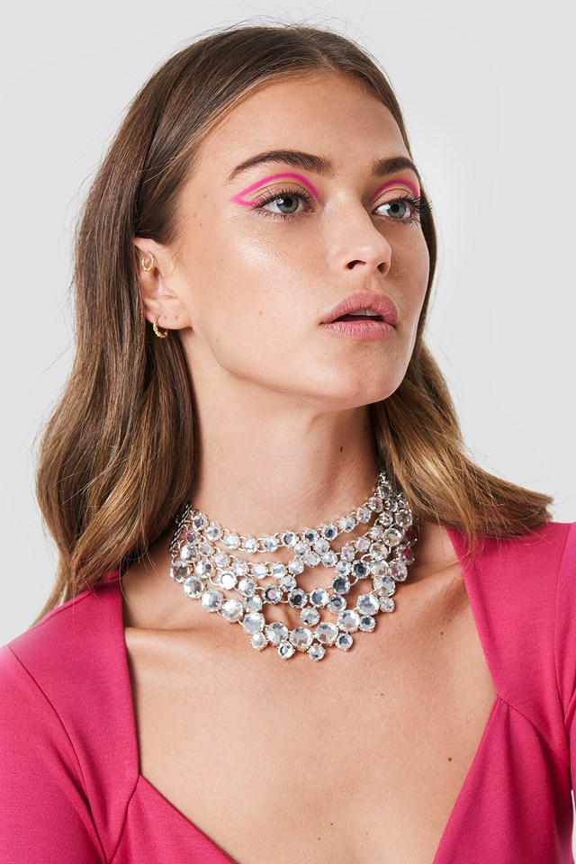 Layered Rhinestone Necklace Silver