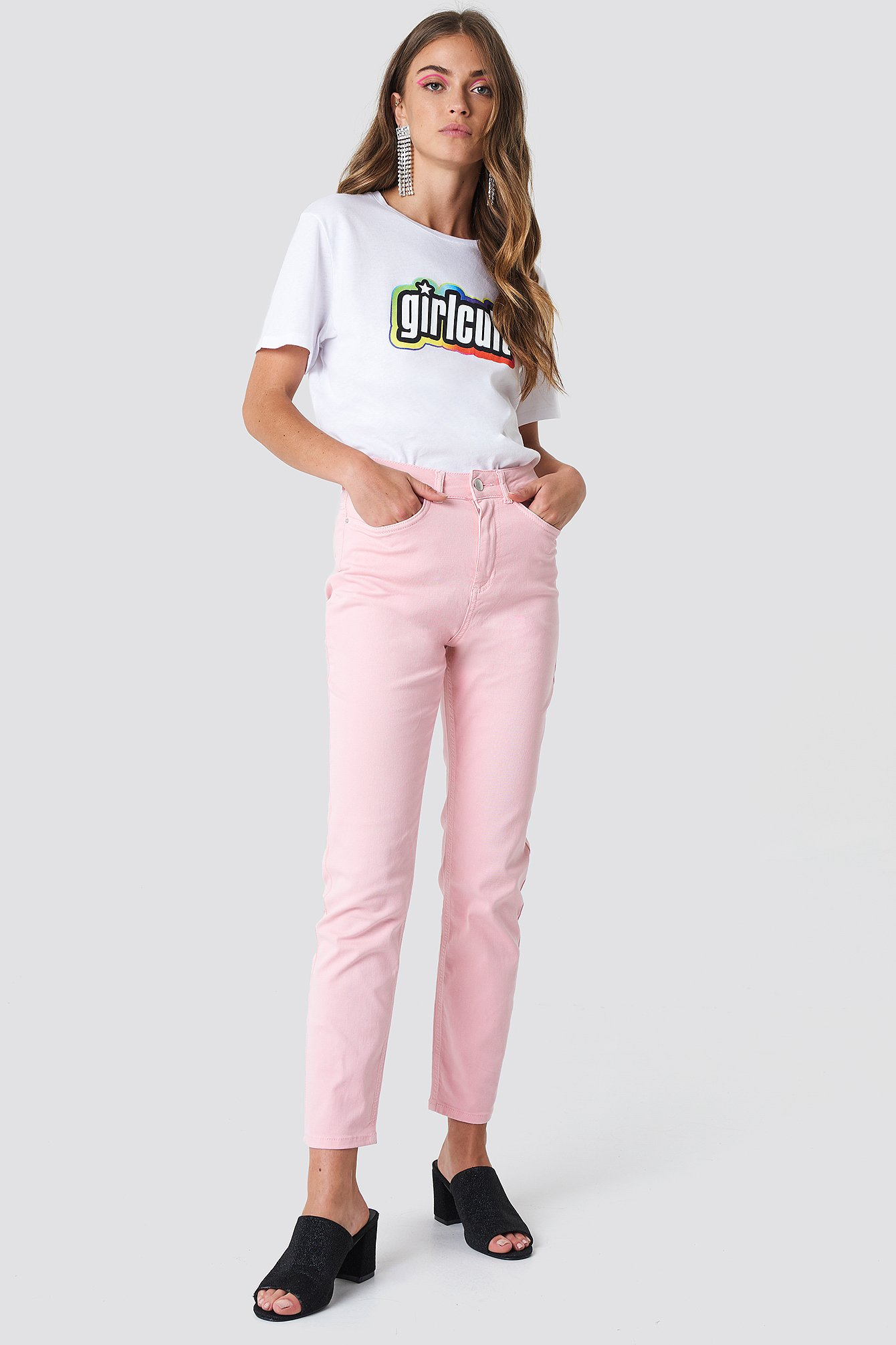 GALORE X NA-KD PINK MOM JEANS - PINK