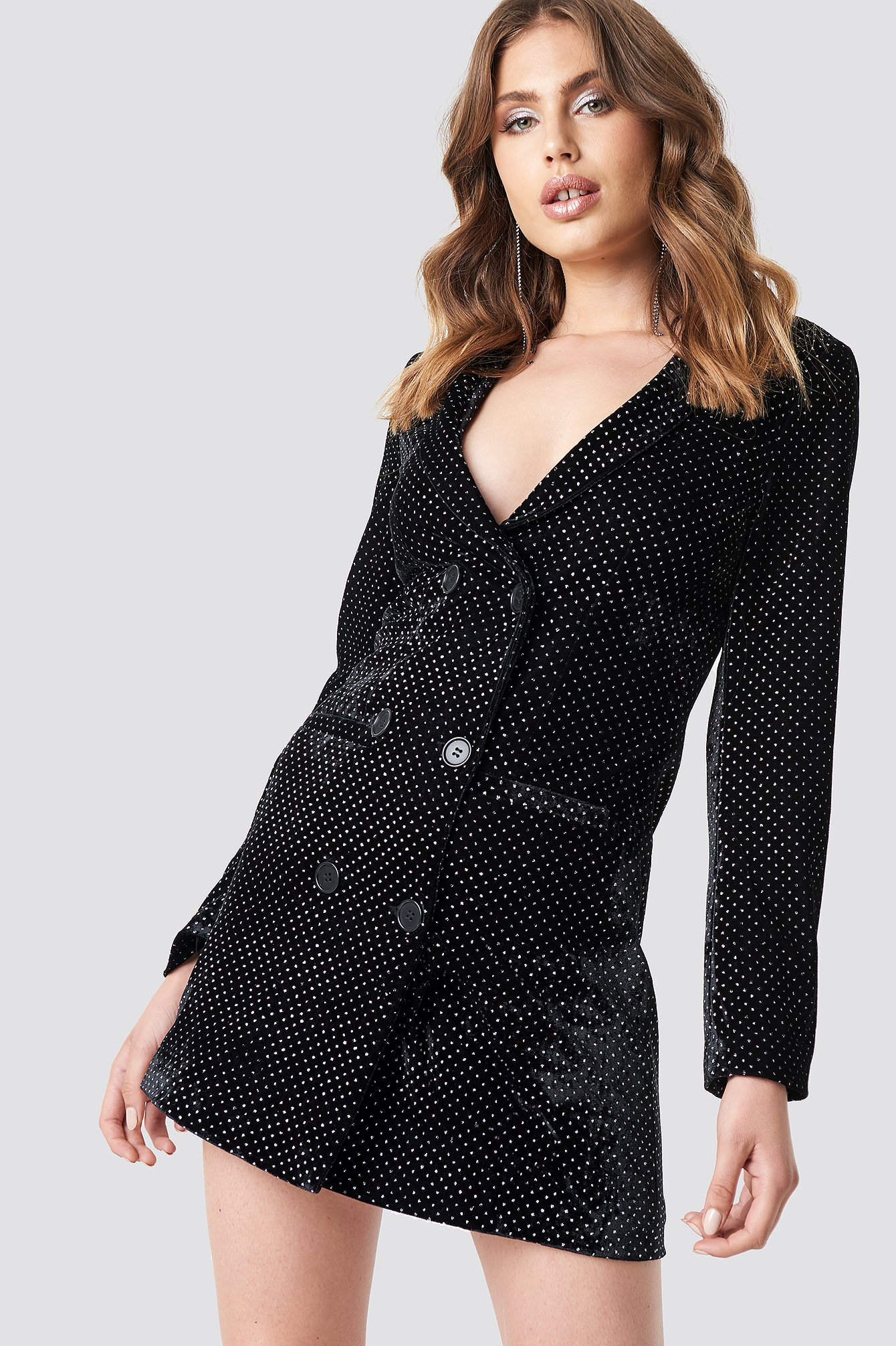 Black Sparkling Velvet Blazer Dress
