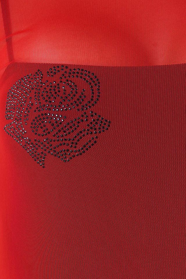 Rhinestone Rose Mesh Dress Hot Lips