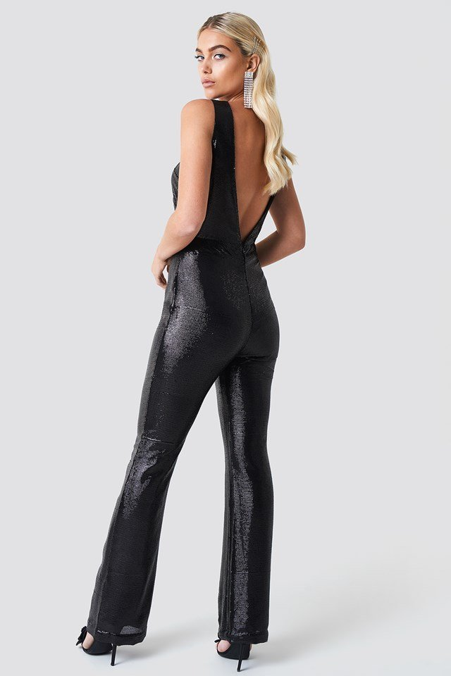 Cut Out Glitter Jumpsuit NA-KD.COM