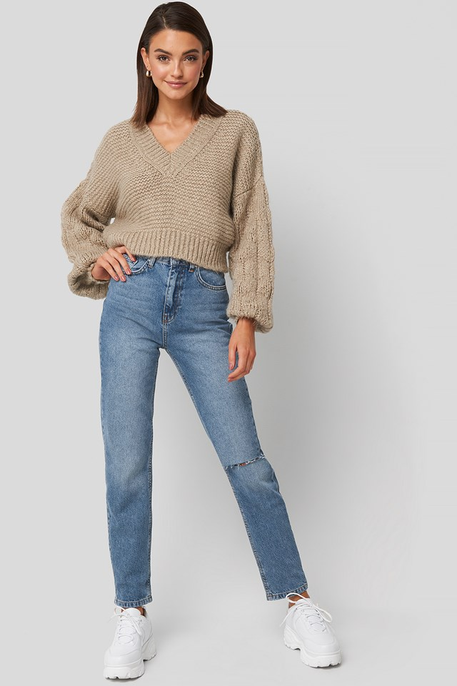 Bulky Sleeve Heavy Knit Sweater Beige