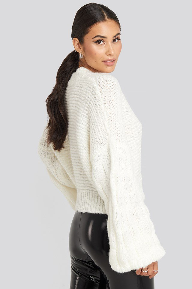 Bulky Sleeve Heavy Knit Sweater Off White