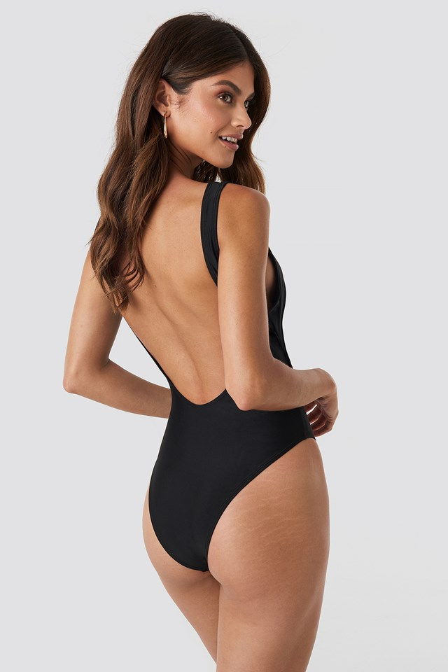 Cut Out Knot Detail Swimsuit Black