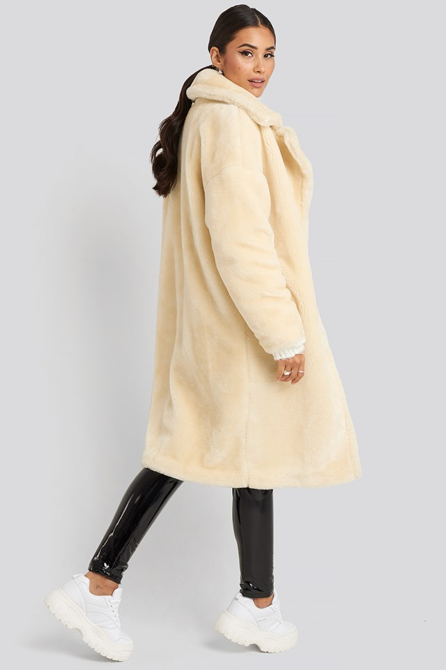 Faux Fur Coat Off White