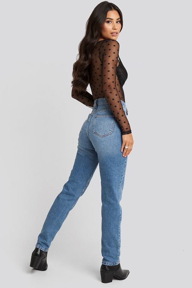 High Rise Straight Cut Jeans Light Blue