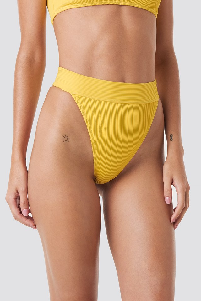 Ribbed High Waist Bikini Bottom Yellow