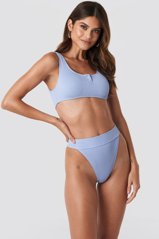 Ribbed Sporty Bikini Top Blue