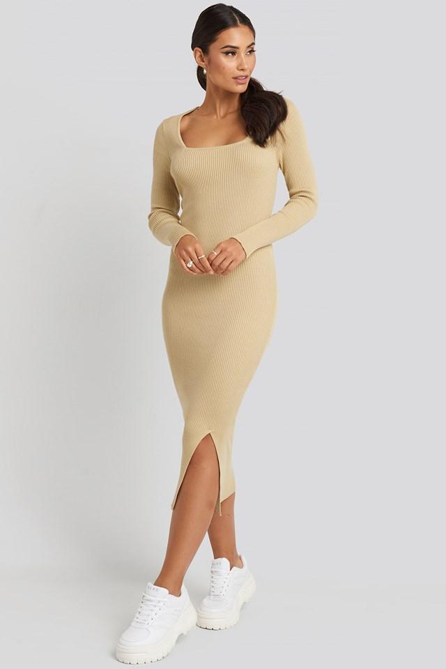 Square Neck Long Knit Dress Beige