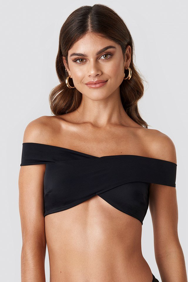 Wide V Neck Bikini Top Black