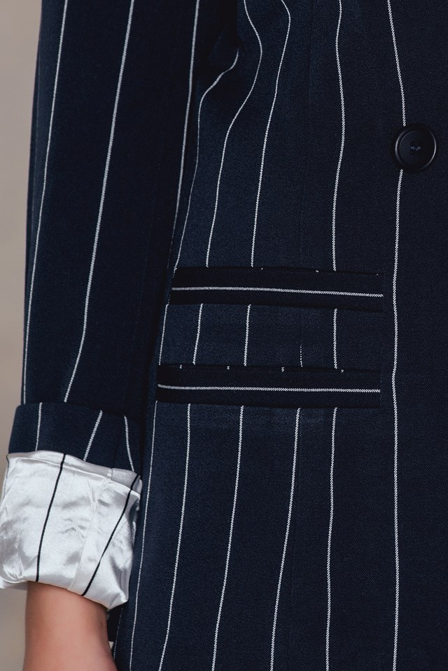 Cori Blazer Dark Sapphire Pinstripe