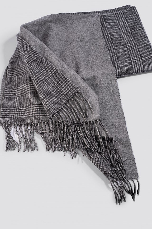 Cross Checked Scarf Grey Check
