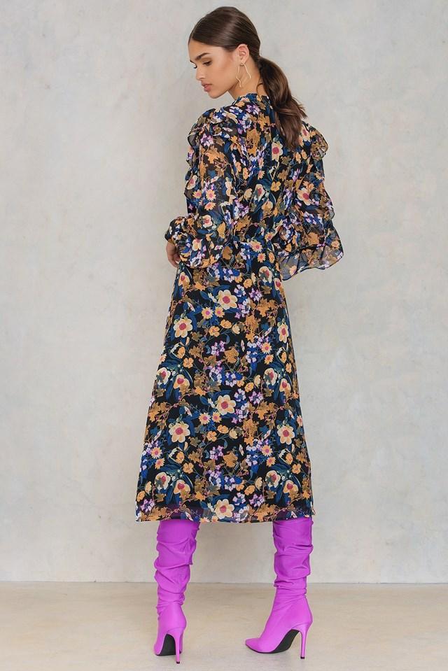 Fally Long Dress Multi Black Flower