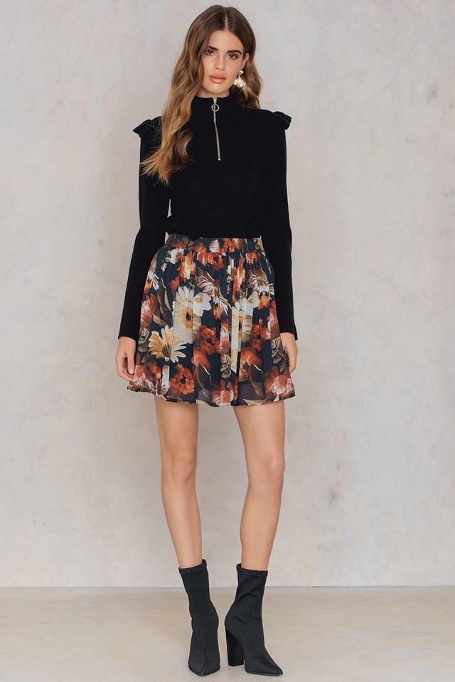 Fergie Skirt Multi Black Flower
