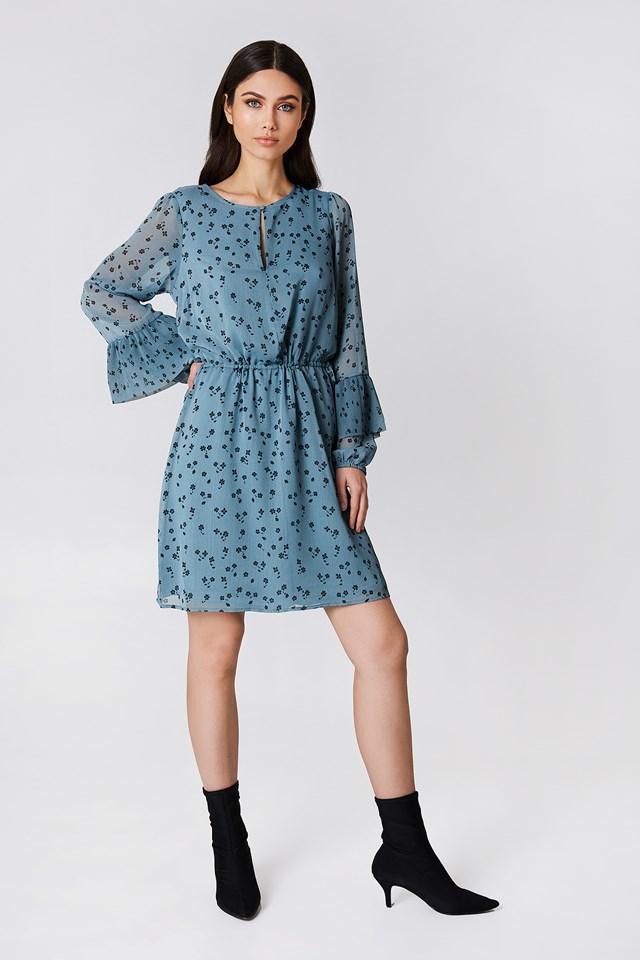 Jeanett Dress Blue Flower