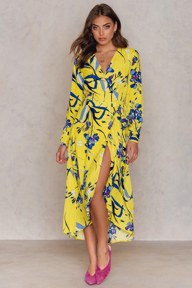 Lemon Wrap Dress NA-KD.COM