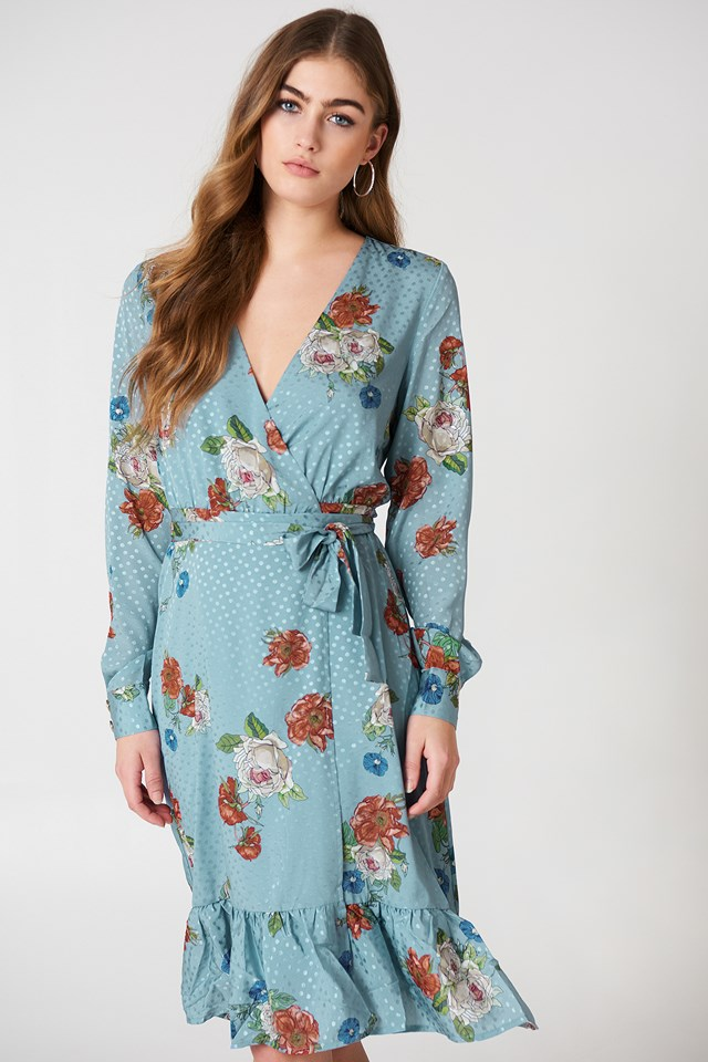 Kopertowa sukienka Natacha Light Blue Flower
