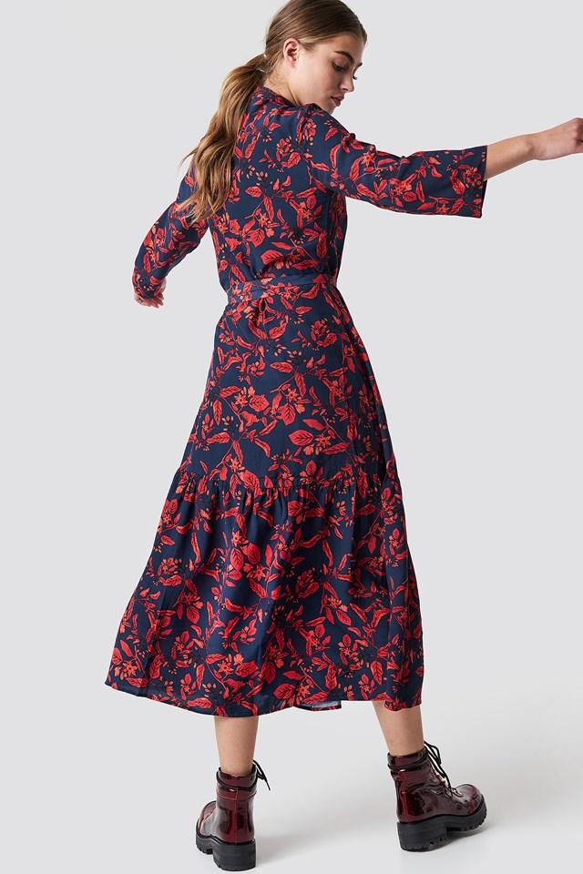 Raida Long Dress Red Floral