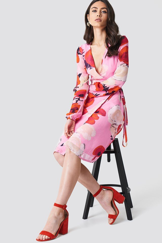 Violetta Wrap Dress Pink Roses