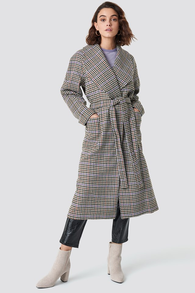 Welle Check Coat Off white/Cognac check