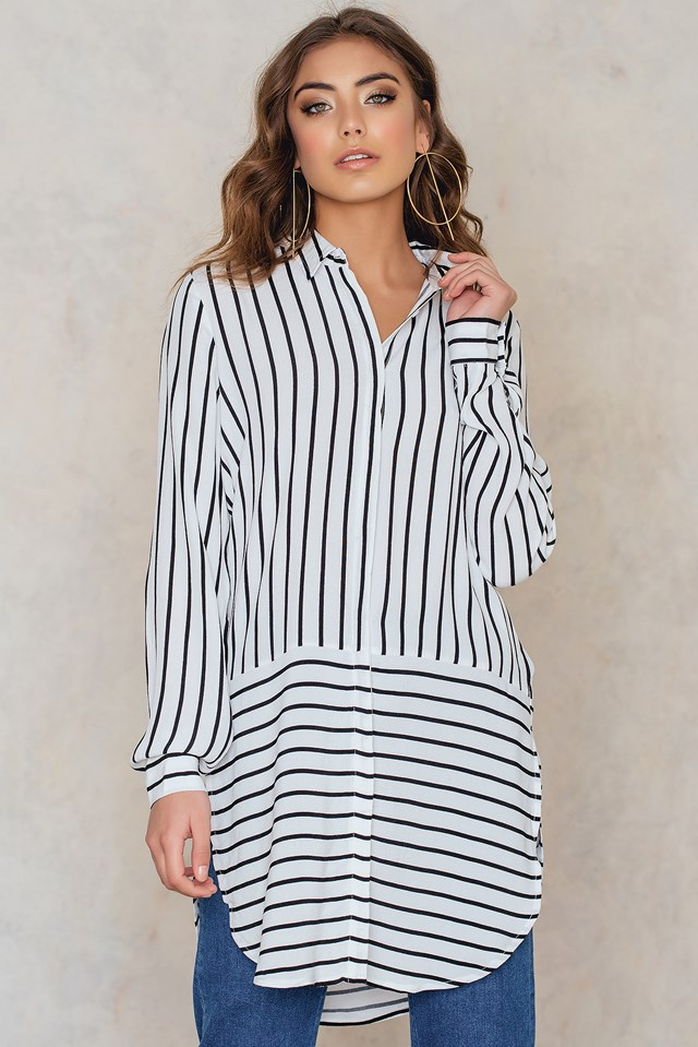 Wendy Long Shirt Off White With Black Stripe