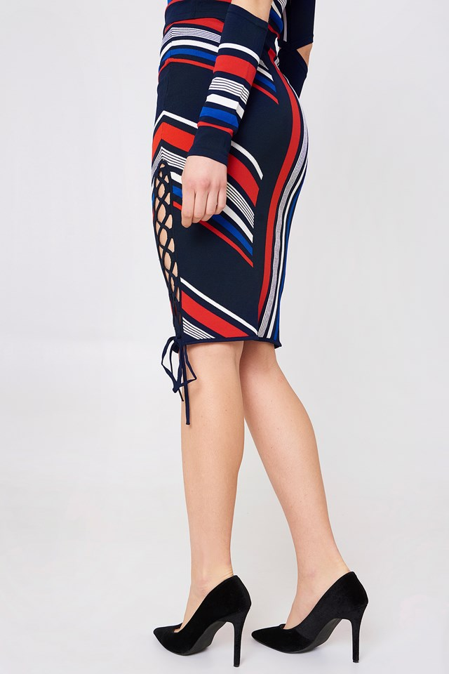 Gigi Hadid Intarsia Skirt Midnight/Multi