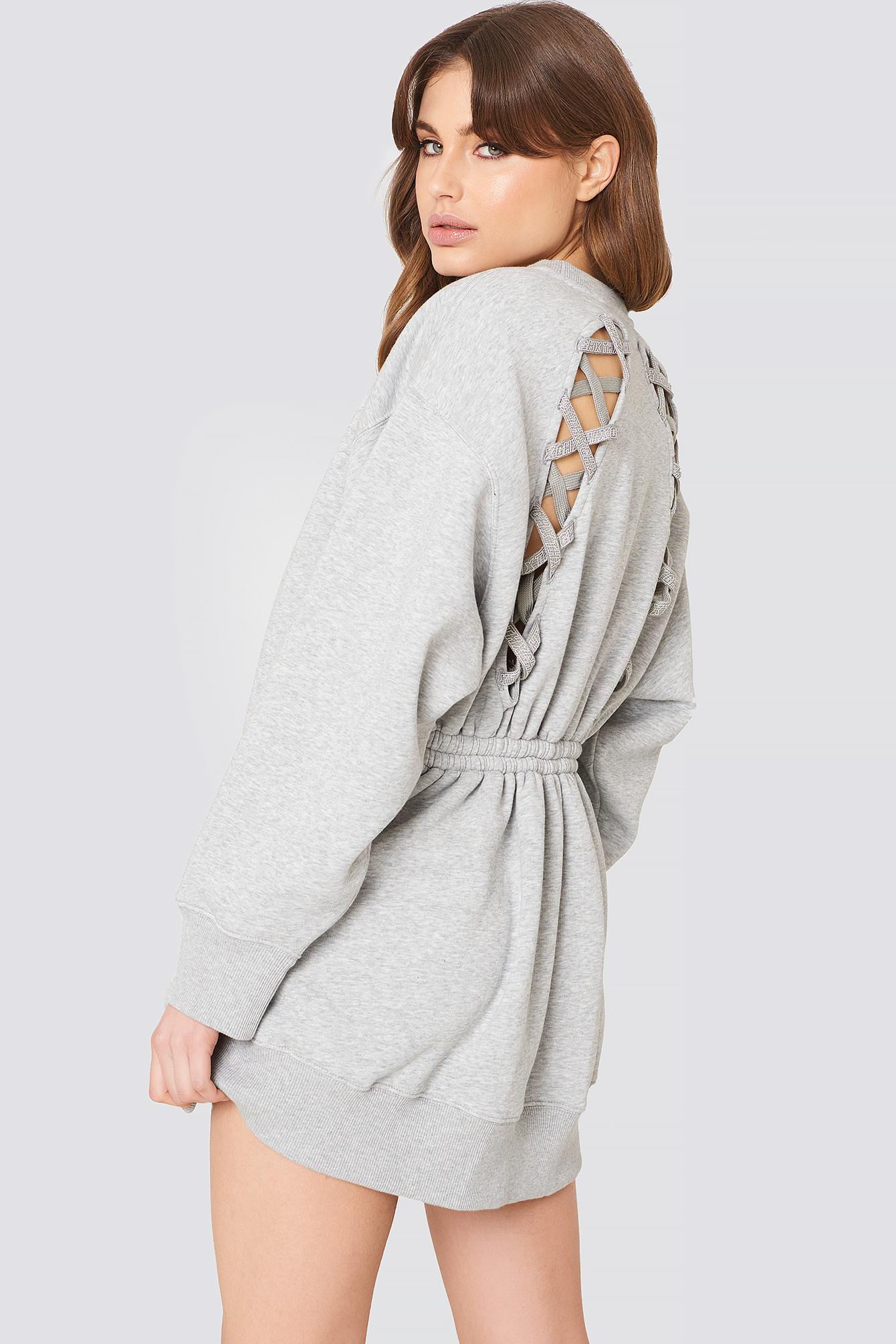 Gigi Hadid Open Back LS Sweatshirt Dress