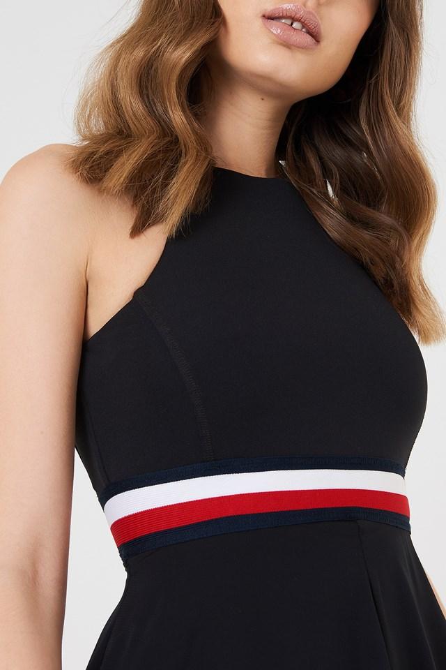 Gigi Hadid Silk Racer Back Dress Black Beauty