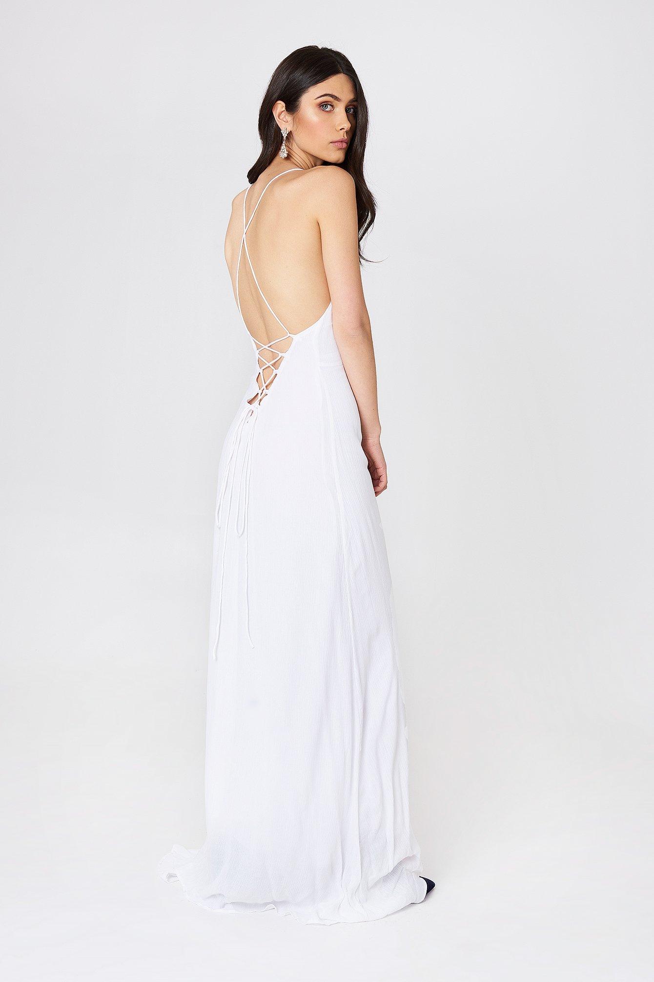 GIRL & THE SUN LUNA TIE BACK MAXI DRESS - WHITE