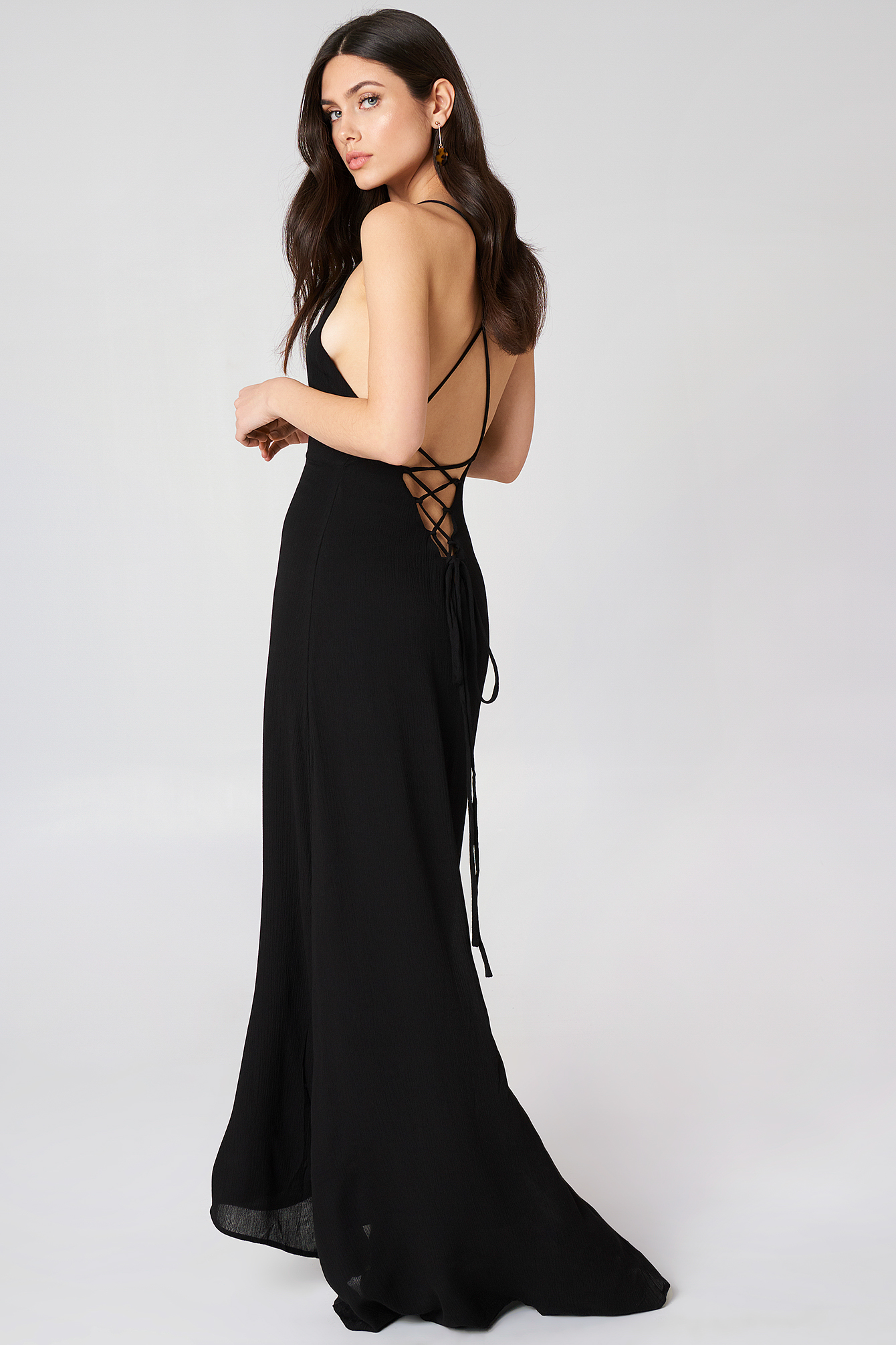 GIRL & THE SUN LUNA TIE BACK MAXI DRESS - BLACK