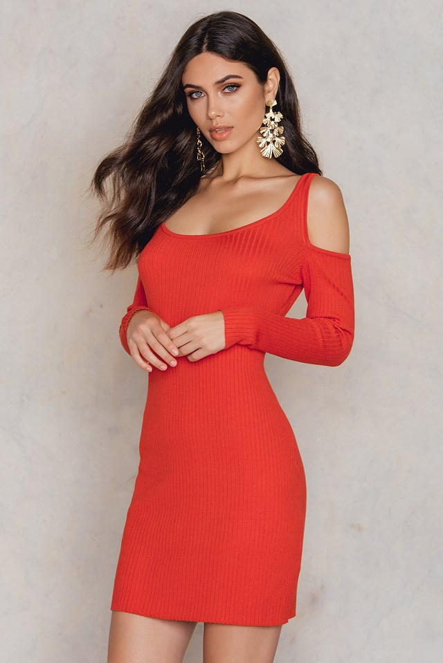 Ribbed Jumper Bodycon Dress Red
