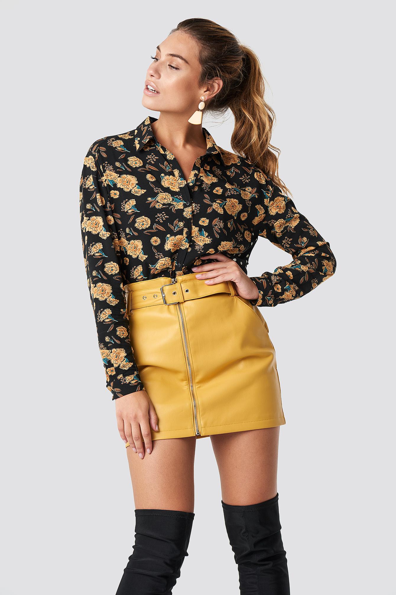 glamorous -  Belted Mini Skirt - Yellow