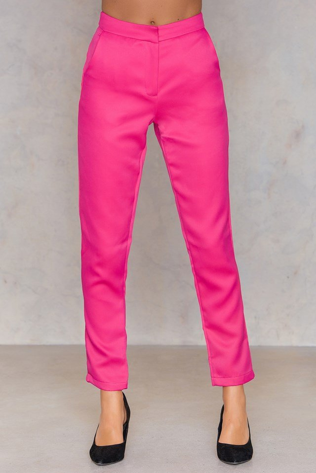 Straight Ankle Pants Hot Pink