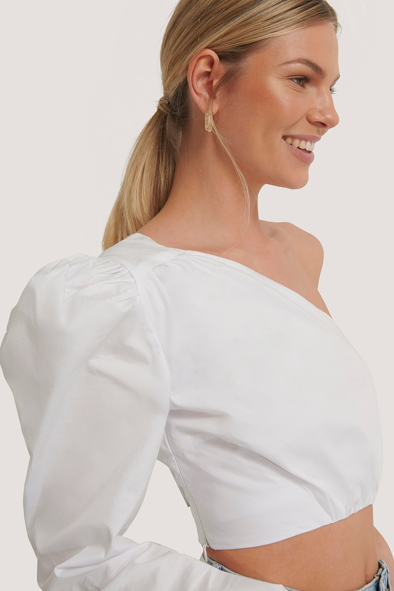 White Asymmetric Crop Blouse