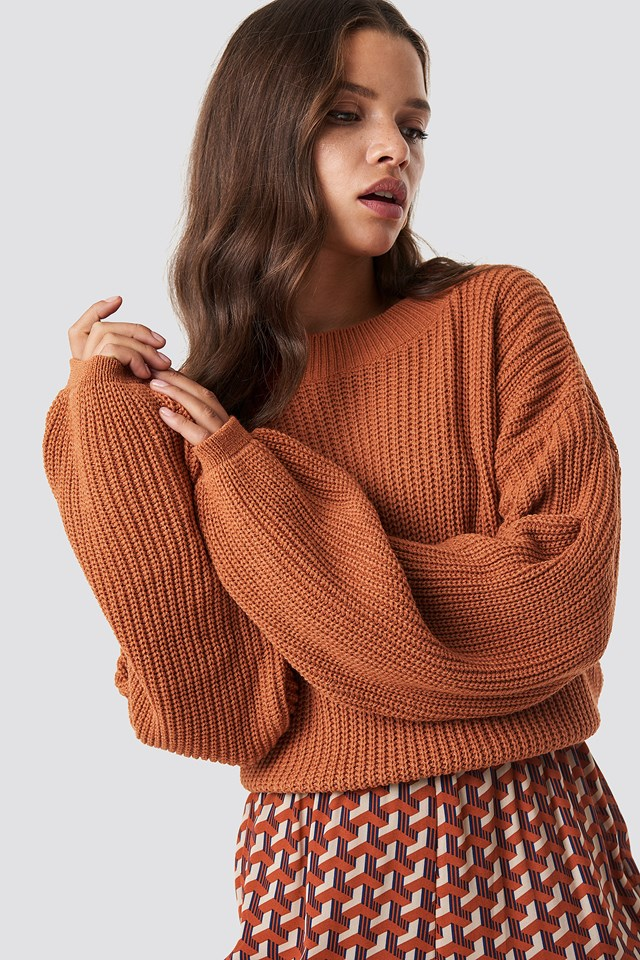 Balloon Arm Knitted Sweater Rust