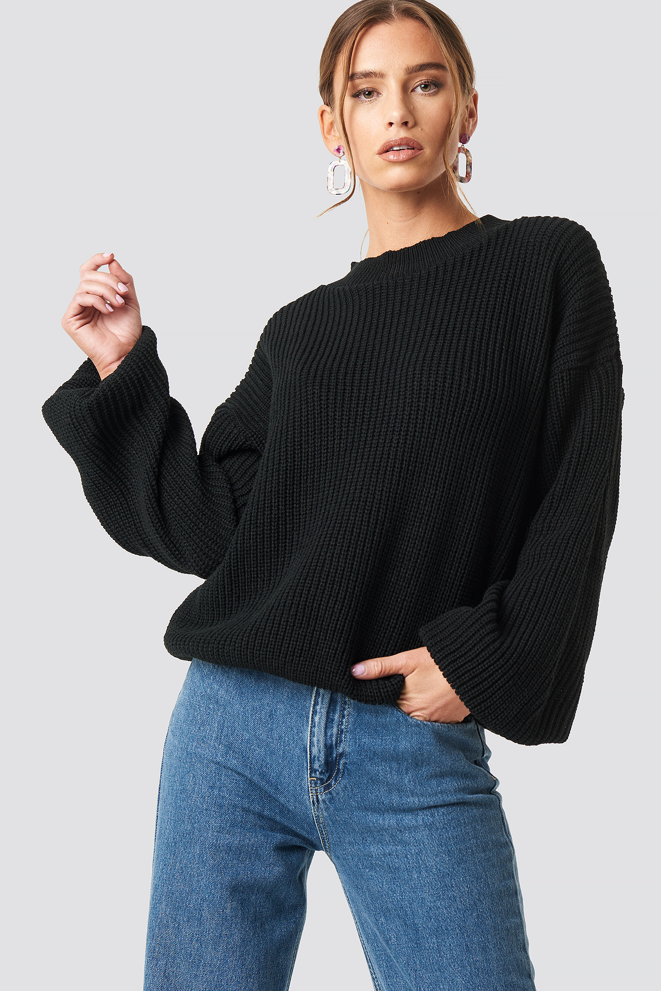Balloon Arm Knitted Sweater NA-KD.COM