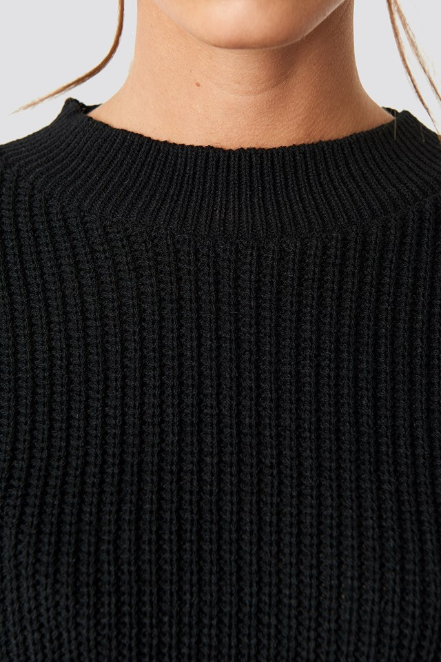Balloon Arm Knitted Sweater Black