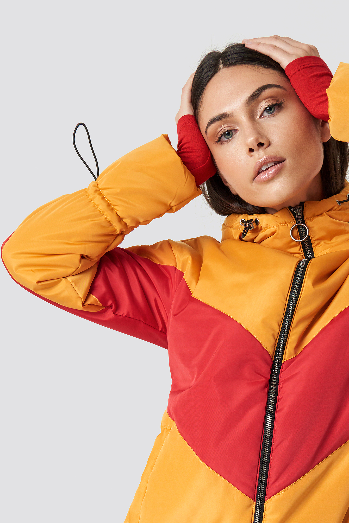 glamorous -  Blocked Padded Jacket - Multicolor,Yellow