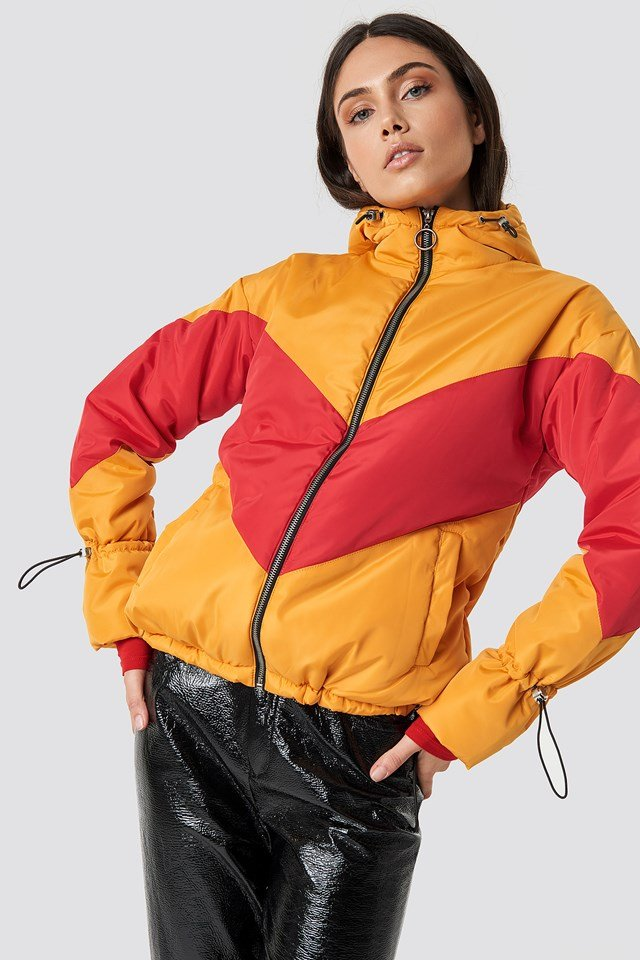 Blocked Padded Jacket Golden Yellow Red