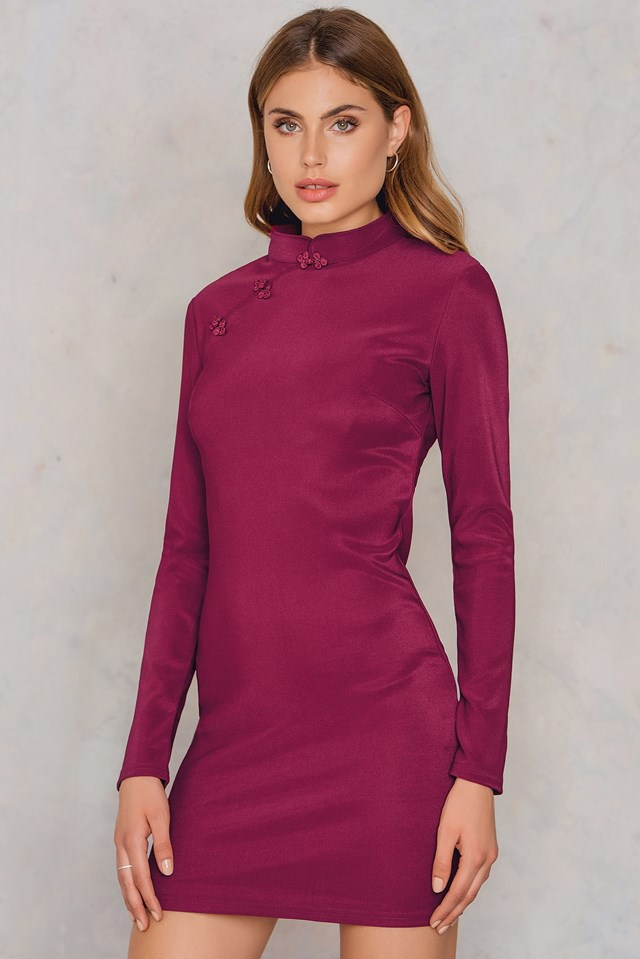 Bodycon Long Sleeve Dress Burgundy