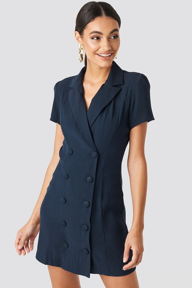 Button Detail Mini Dress Navy